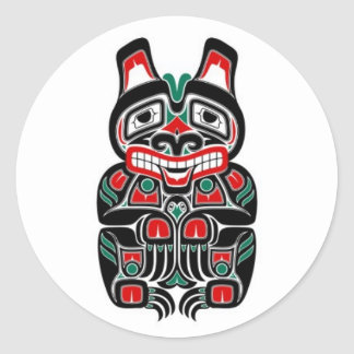 Red and Green Haida Spirit Bear Round Sticker