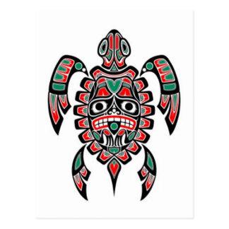 Red and Green Haida Spirit Sea Turtle Postcard