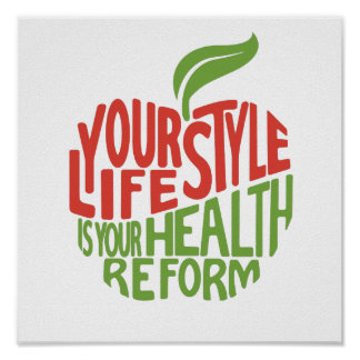 Red and green health quote design. poster