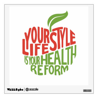 Red and green health quote design wall sticker