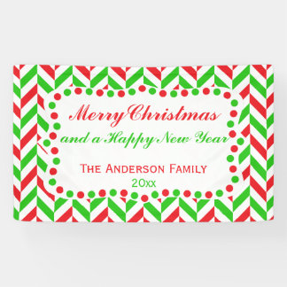 Red and Green Herringbone Christmas Banner