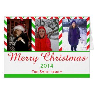 Red and Green Herringbone Christmas Photo Card