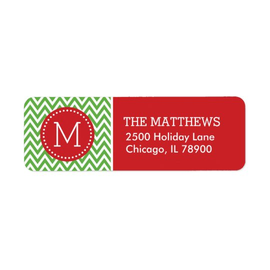 Red and Green Holiday Chevron Monogram