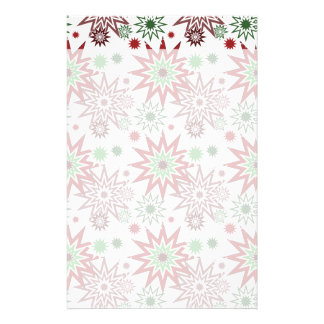 Red and Green Holiday Christmas Snowflakes Pattern Customized Stationery