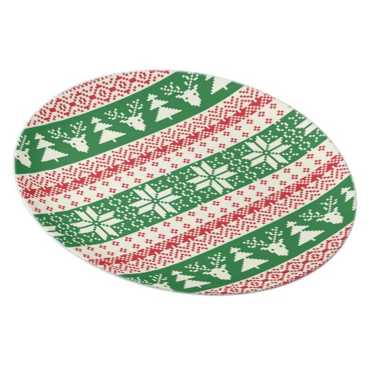 Red and Green Holiday Sweater Pattern Plate