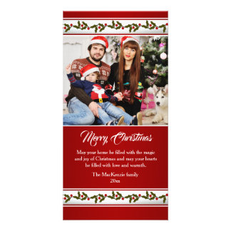 Red and green, holly Christmas Photo card
