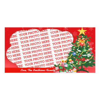 Red and Green. Its Christmas Template Photo Greeting Card