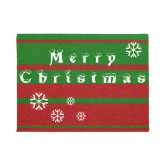 Red and Green Knitting Merry Christmas Holiday Doormat