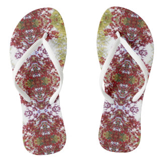 Red And Green Leaves Flip Flops