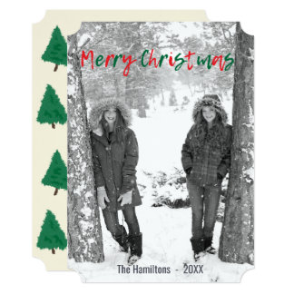 Red and Green Merry Christmas Script Overlay Photo Card
