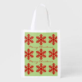 Red and Green Merry Christmas Winter Snowflakes Reusable Grocery Bag