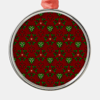 Red and Green Modern Artistic Christmas Pattern Silver-Colored Round Ornament