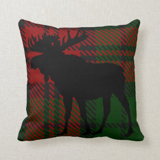 Red and Green Moose Pillow