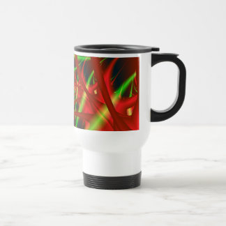 Red and Green Neural Network Spiral Travel Mug