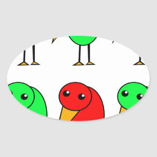 Red and green parrots oval sticker