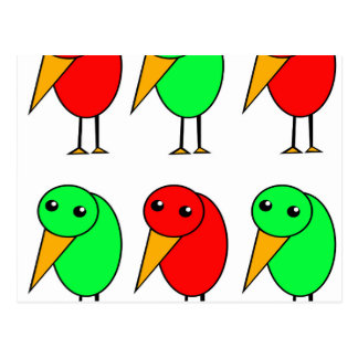 Red and green parrots postcard