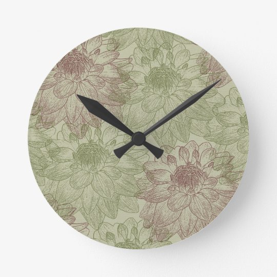 Red and Green Peonies Clock