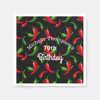 Red and Green Pepper Birthday Napkins Disposable Napkins