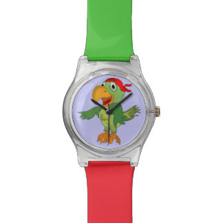 Red and Green Pirate Parrot Watch