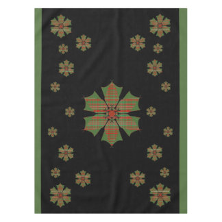 Red and Green Plaid Poinsettias Tablecloth