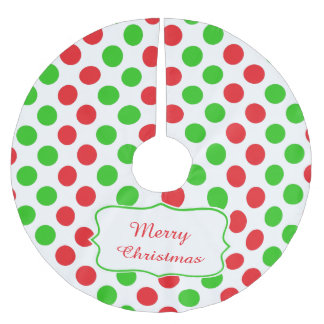 Red and Green Polka Dot Pattern Christmas Brushed Polyester Tree Skirt