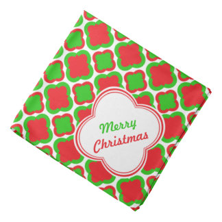 Red and Green Quatrefoil Pattern Christmas Bandana
