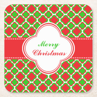 Red and Green Quatrefoil Pattern Christmas Square Paper Coaster