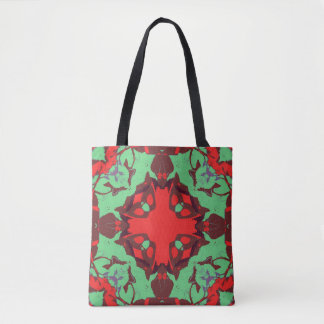 Red and Green Retro Tote Bag