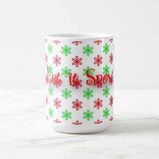 Red and Green Snowflake Pattern Coffee Mug