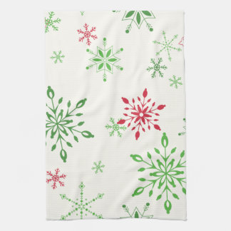 Red and Green Snowflakes on a white background Kitchen Towel