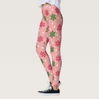 Red and Green Snowflakes w/White Snow Leggings