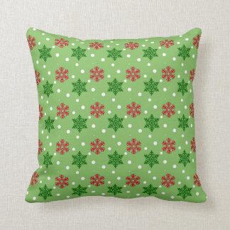 Red and Green Snowflakes w/White Snow Throw Pillow