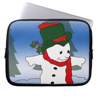 Red and Green Snowman Laptop Computer Sleeves