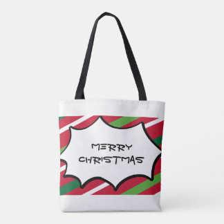 Red and Green Stripe Tote