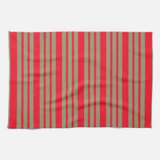 Red and Green Stripes Kitchen Towel