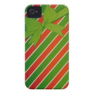 Red and Green Stripes with Bow iPhone 4 Case