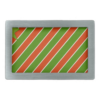 Red and Green Stripes with Bow Rectangular Belt Buckles