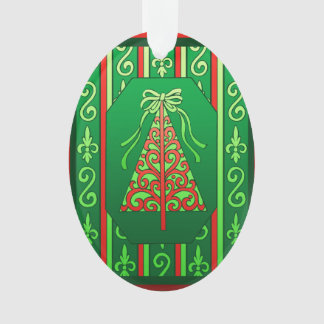 Red And Green Swirls Stripes Christmas Tree