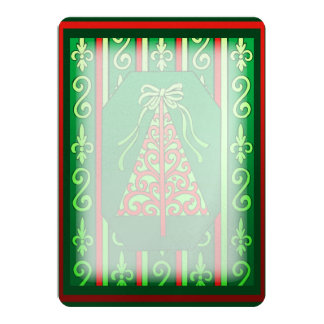 """Red And Green Swirls Stripes Christmas Tree 5"""" X 7"""" Invitation Card"""