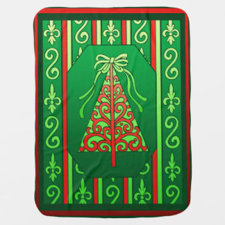 Red And Green Swirls Stripes Christmas Tree Baby Blanket