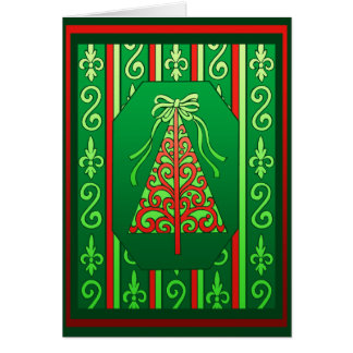 Red And Green Swirls Stripes Christmas Tree Greeting Card