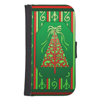 Red And Green Swirls Stripes Christmas Tree Phone Wallet Case