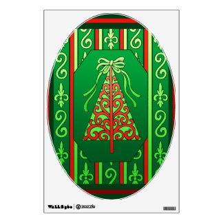 Red And Green Swirls Stripes Christmas Tree Wall Sticker