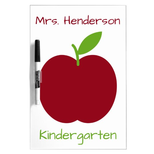 Red and Green Teacher's Apple on White Dry Erase White Board
