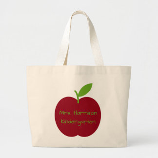 Red and Green Teacher's Apple Personalized Large Tote Bag
