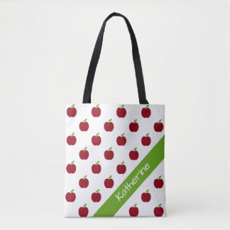 Red and Green Teacher's Apples Personalized Tote Bag