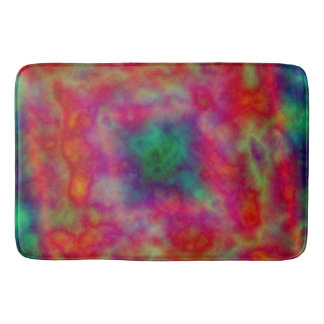 Red And Green Tie Dye Bathroom Mat