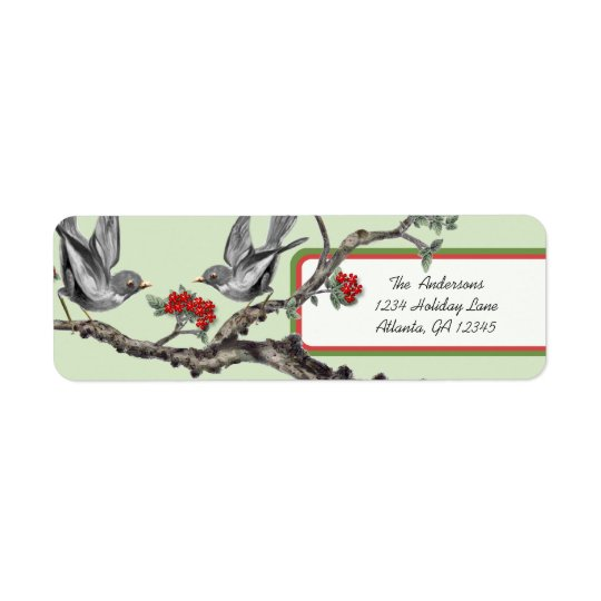 Red and Green Vintage Grey Birds Christmas Labels