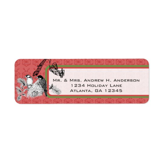 Red and Green Vintage Woodpecker Christmas Labels