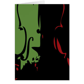 Red and Green Violin Holiday Card